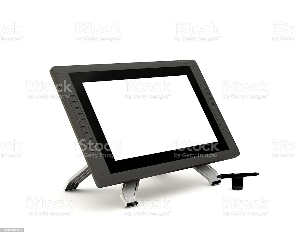 Graphic Screen Tablet Isolated on White Background stock photo