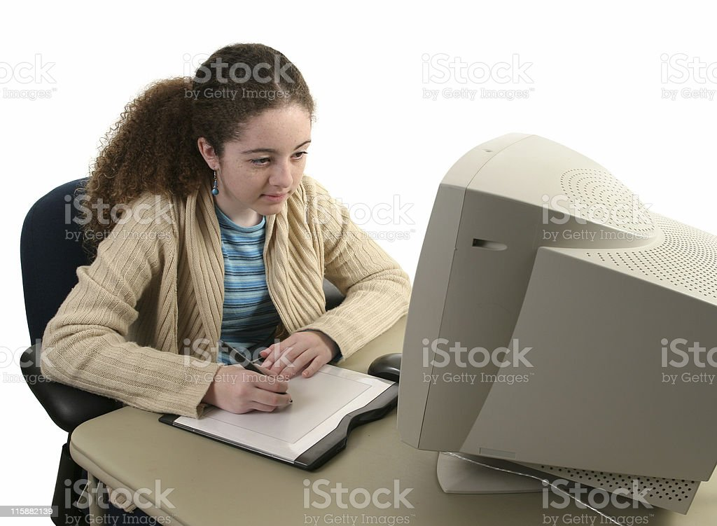 Graphic Tablet Concentration royalty-free stock photo