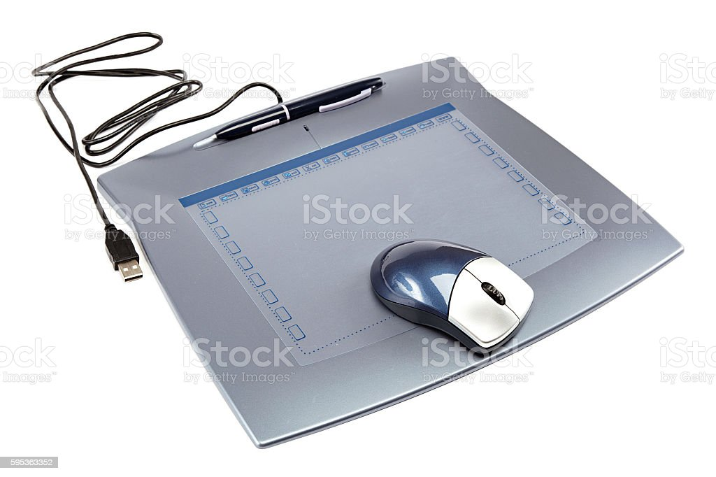 Graphic tablet with mouse and pen. stock photo