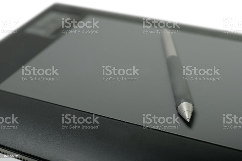 Graphic tablet with pen royalty-free stock photo