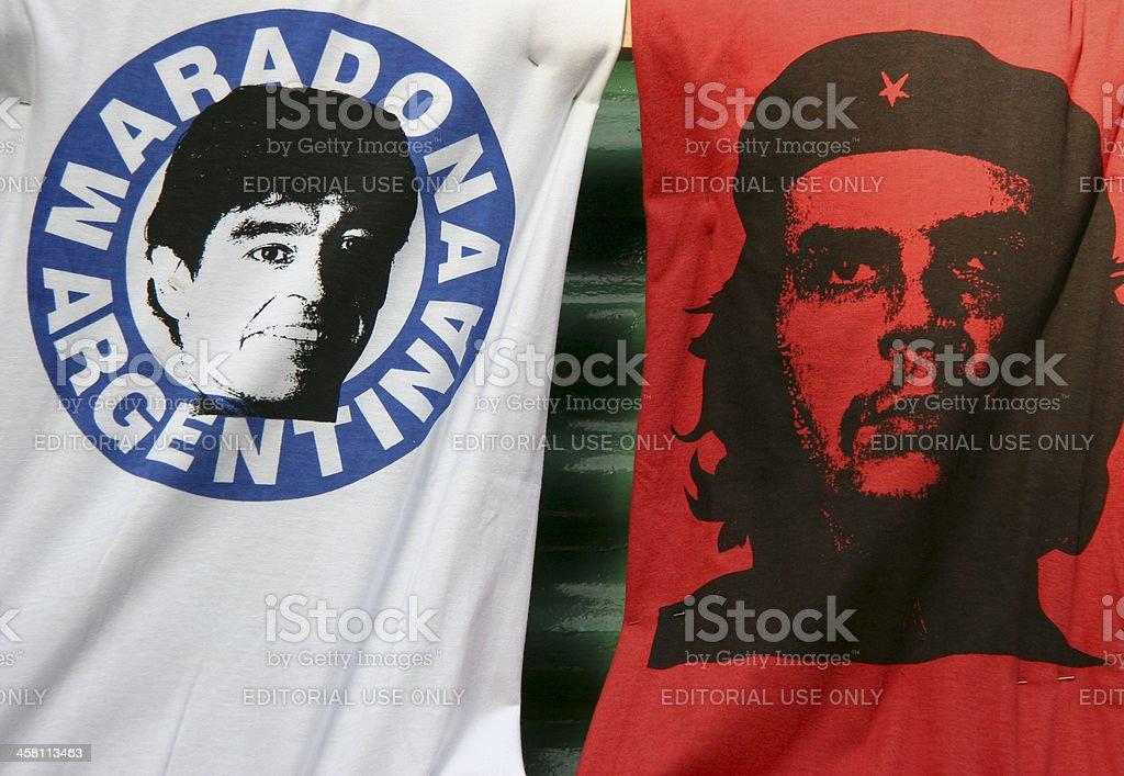 Graphic T-Shirts With Maradona and Che Guevara stock photo