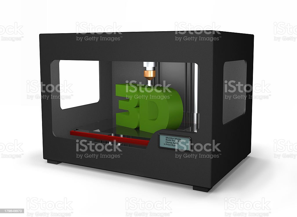 Graphical design of a 3d printing machine royalty-free stock photo