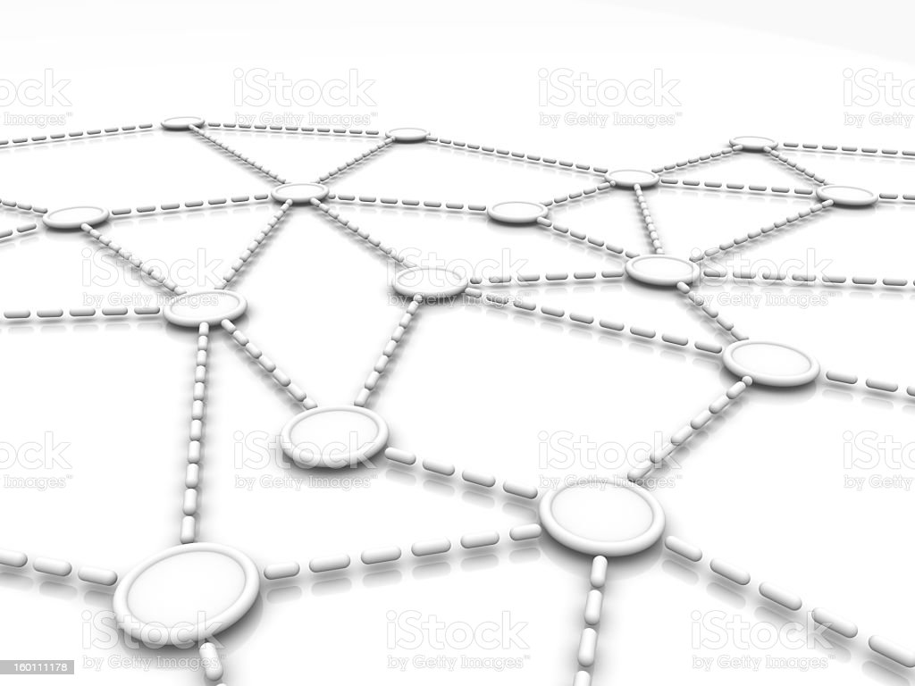 A graphical representation of a network on white stock photo