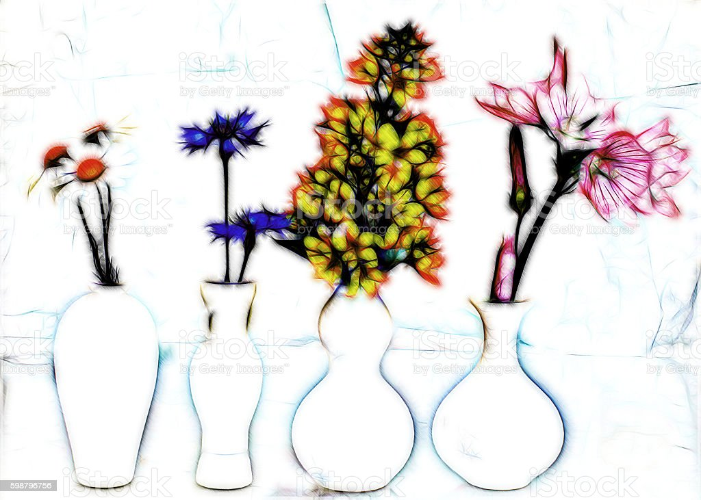 Graphics card colorful flowers in white vases stock photo