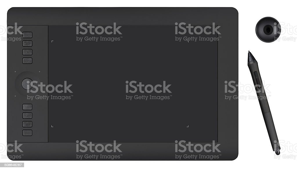 Graphics Tablet with Pen and Holder stock photo