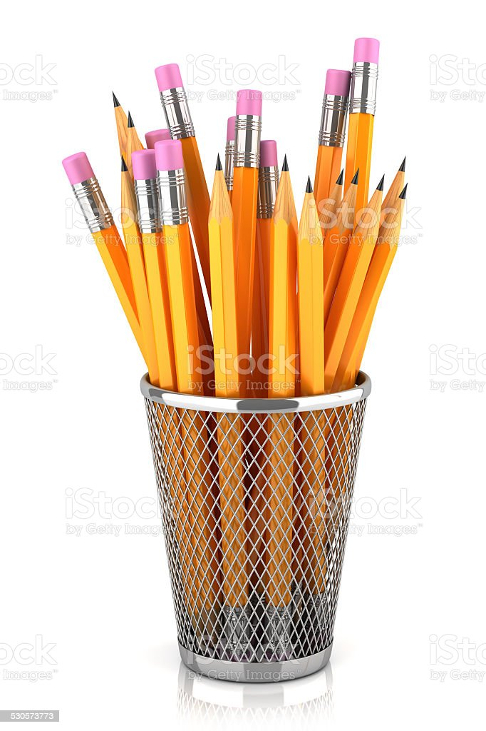 Graphite pencils in basket isolated on white background stock photo