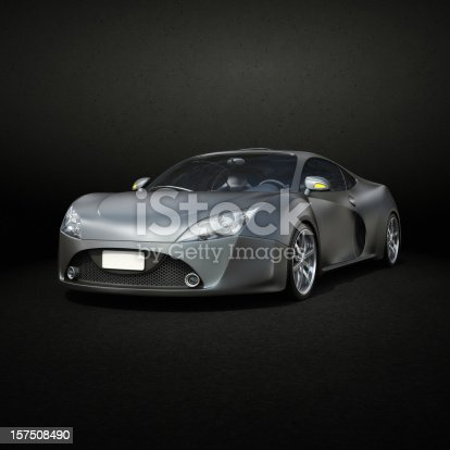 Graphite Supercar Front View Stock Photo Istock