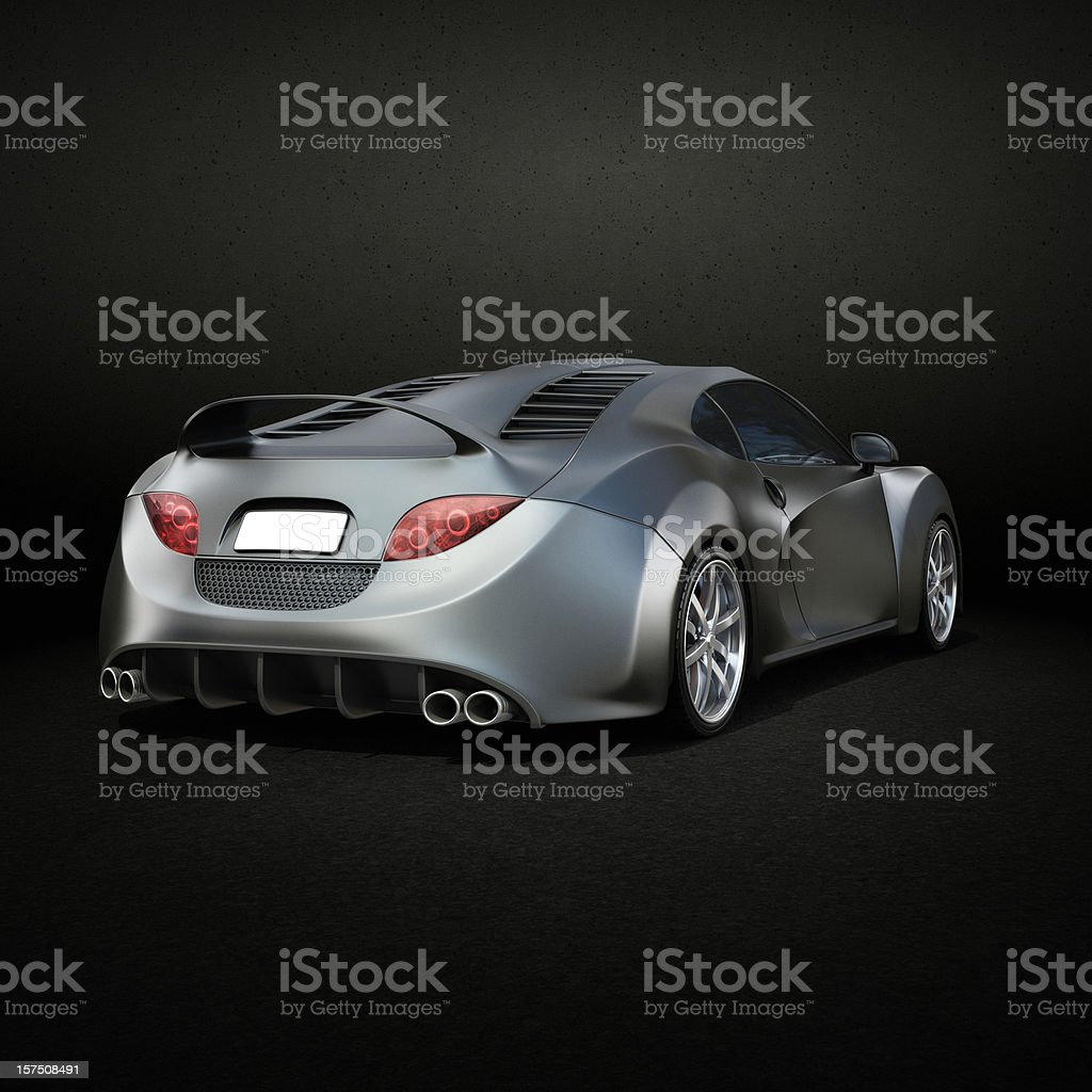Graphite Supercar Rear View Stock Photo Istock
