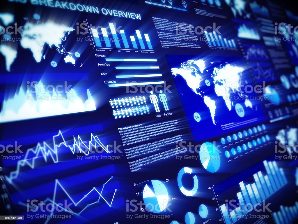 Graphs and charts aglow on dark blue background stock photo