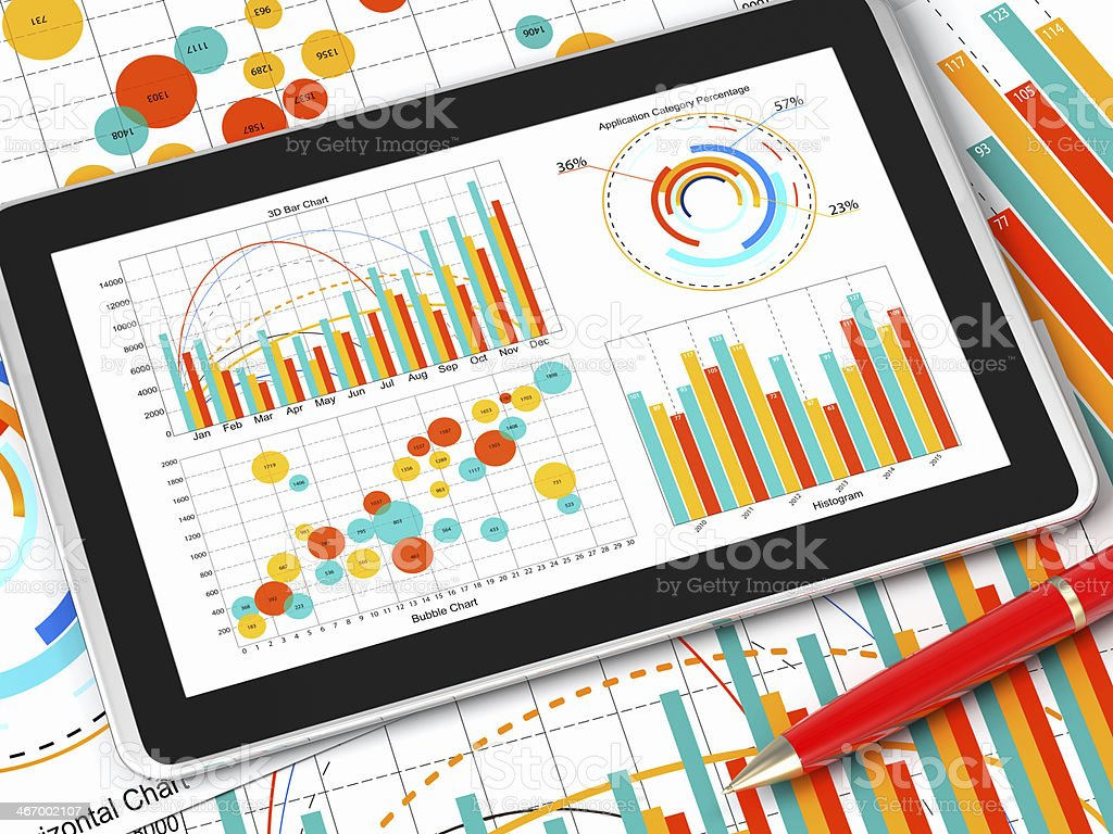 Graphs and charts Analyzing stock photo