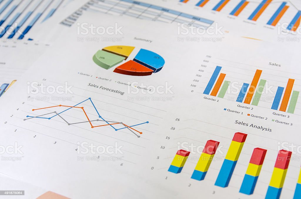 Graphs and Charts as background stock photo