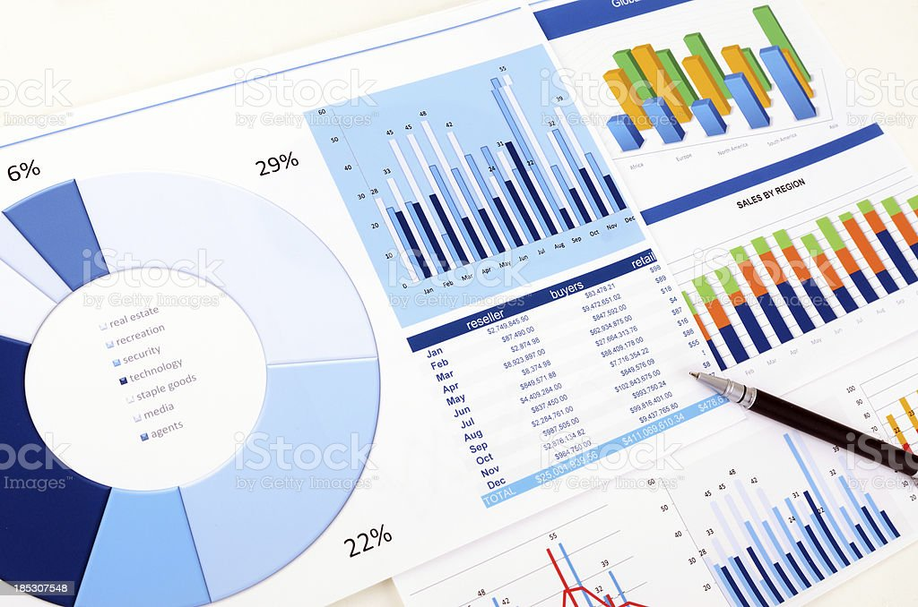 Graphs and charts stock photo