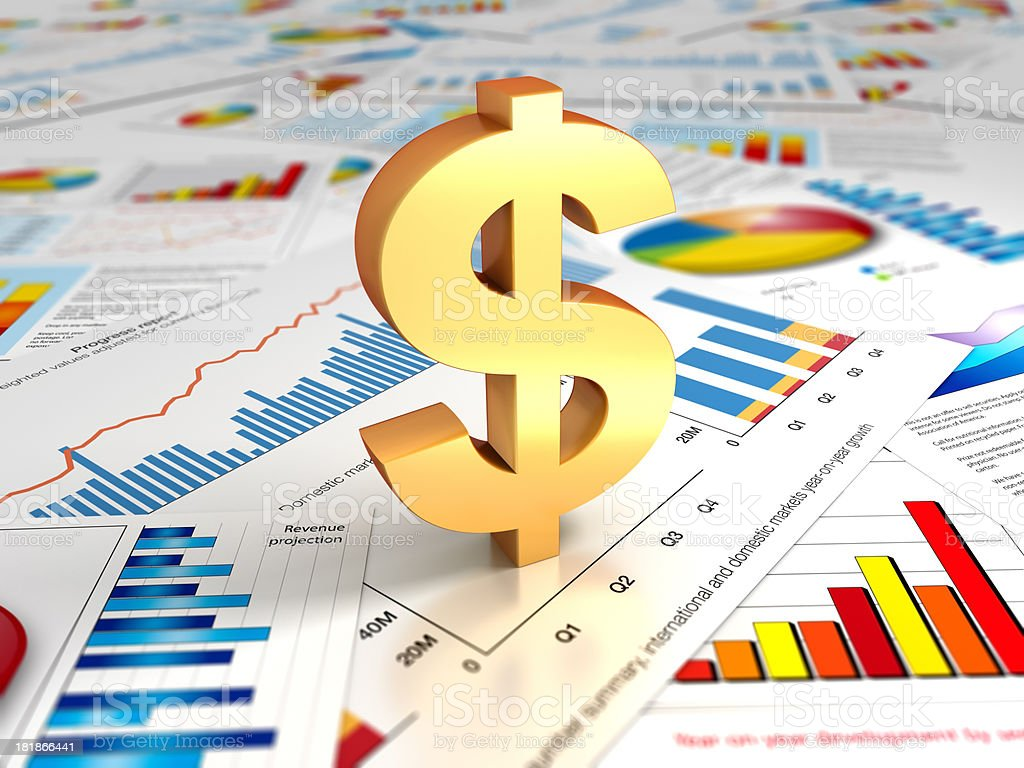 Graphs and charts with dollar sign royalty-free stock photo