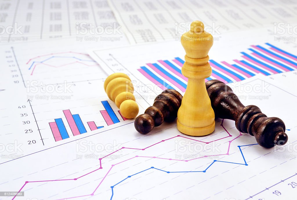 Graphs and chess stock photo