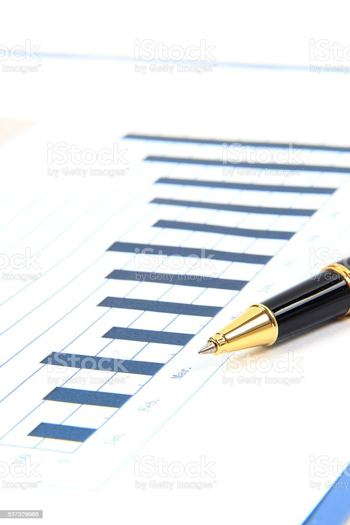 Graphs with pen stock photo