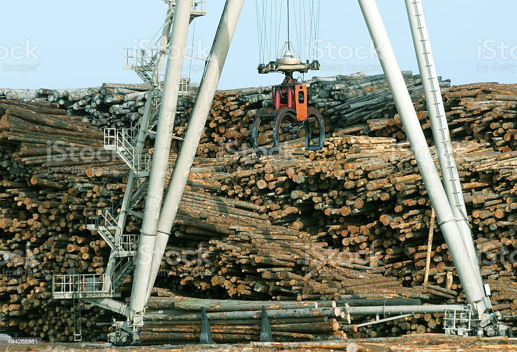 Grapple on crane descending to pick up logs from truck stock photo