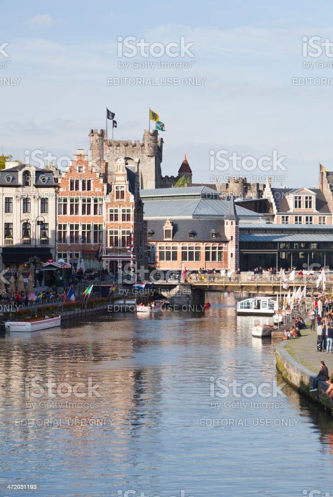 Graslei and Gravensteen, Ghent stock photo