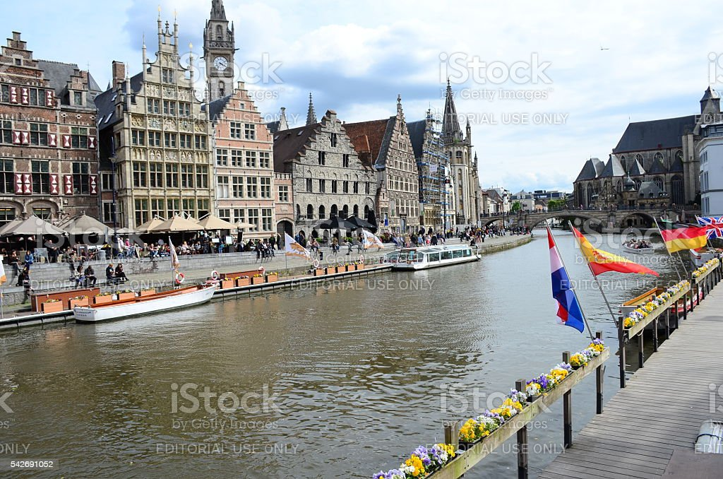 Graslei harbor' on Leie river in Ghent town, Belgium stock photo