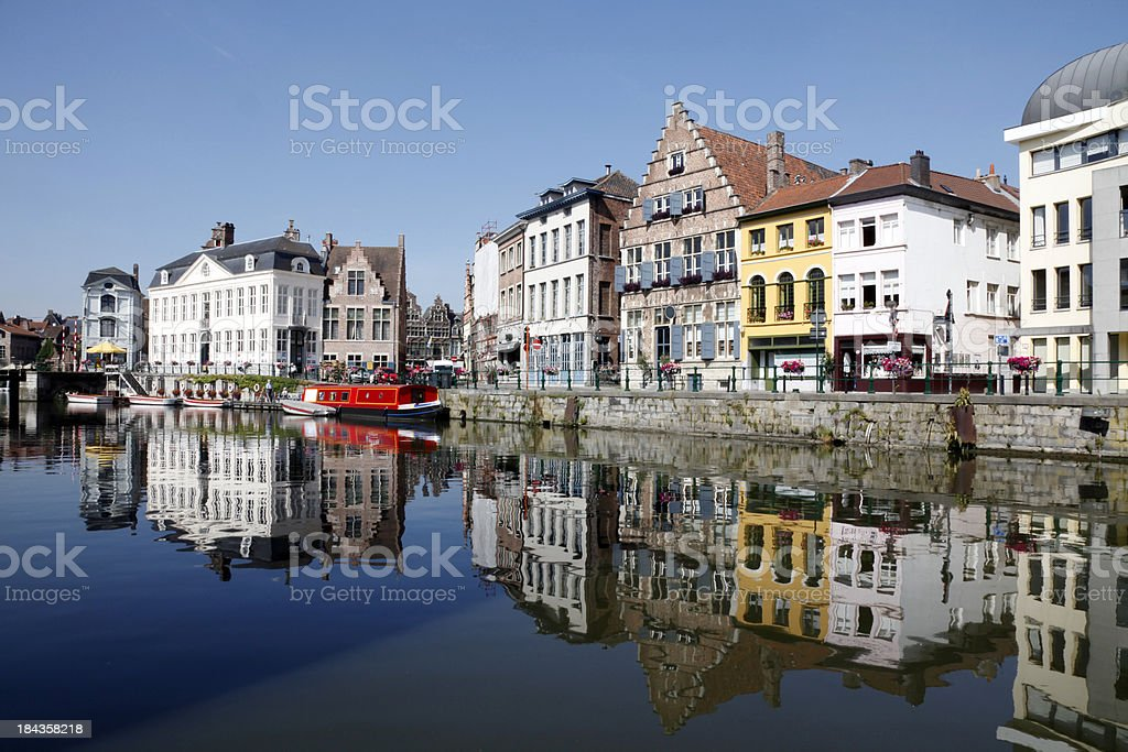 Graslei in Ghent, Belgium stock photo