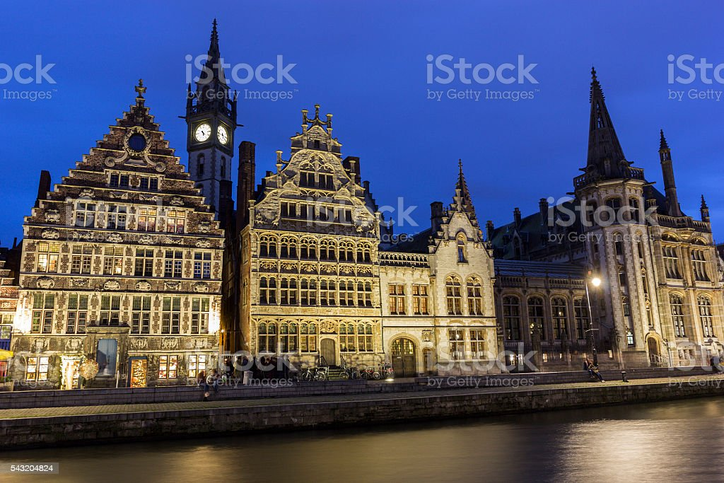 Graslei in Ghent's old city centre in Belgium stock photo