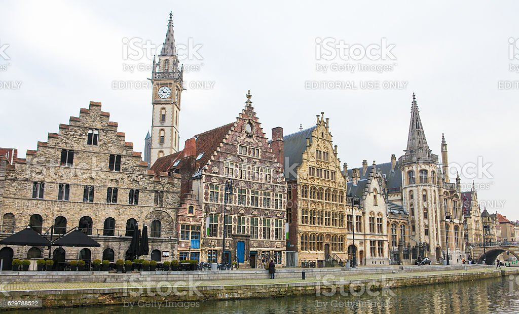 Graslei in the historic center of Ghent, Flanders stock photo