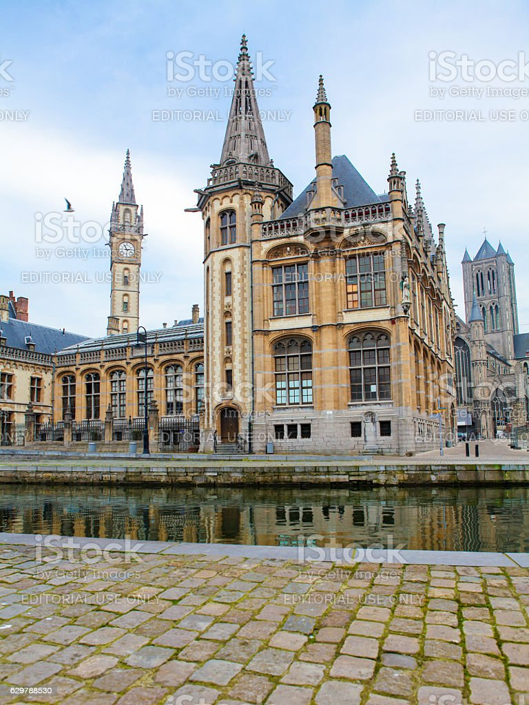Graslei, the historic center of Ghent at the Leie river. stock photo
