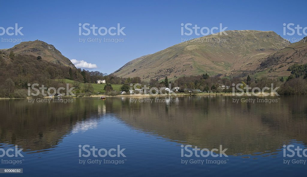 Grasmere Lake on a spring morning stock photo
