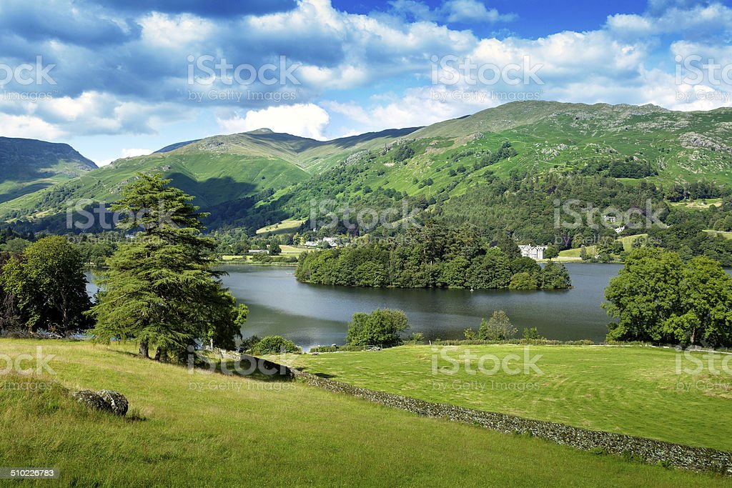 Grasmere village in English Lake District. stock photo