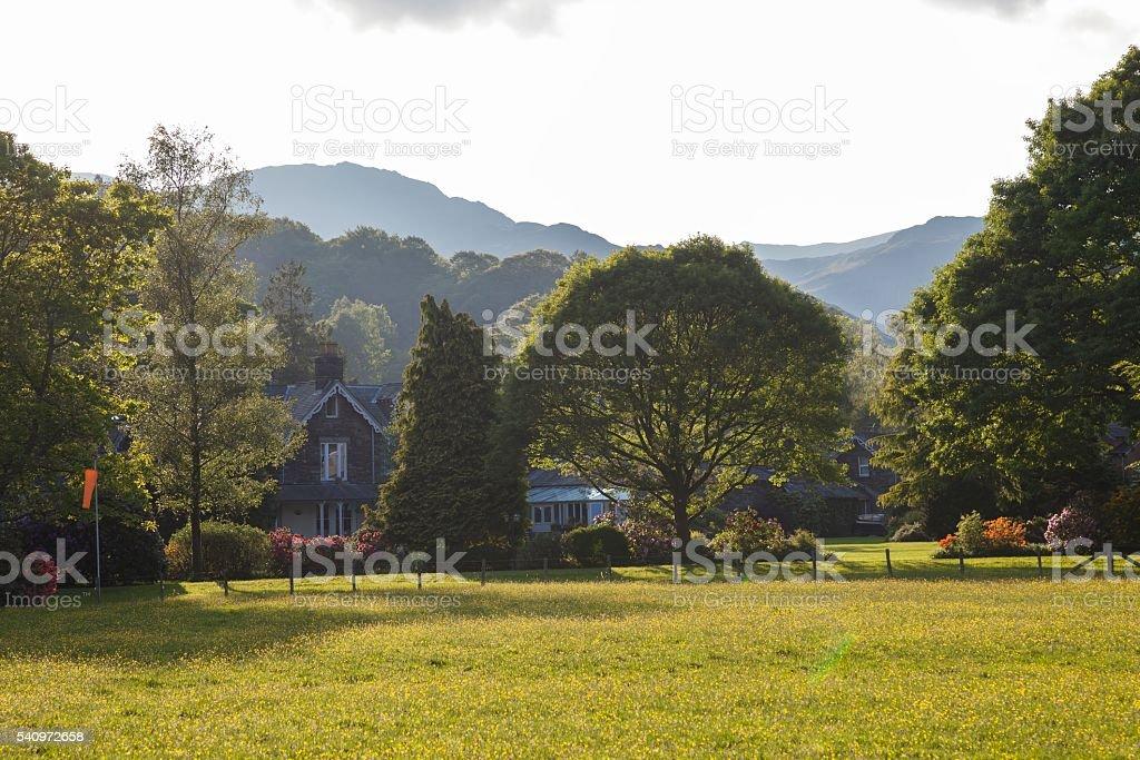 Grasmere village, lake District, Cumbria, England stock photo
