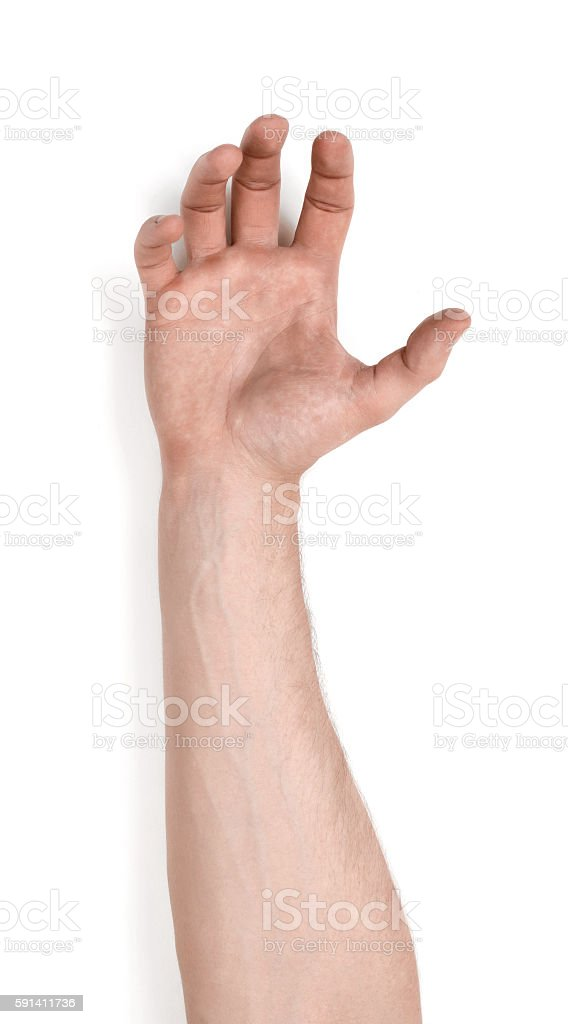 Grasping hand of a man isolated on white background stock photo