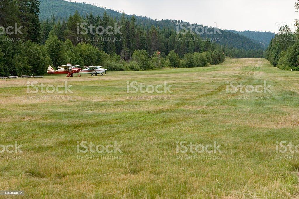 Grass Airstrip in Northern Idaho royalty-free stock photo
