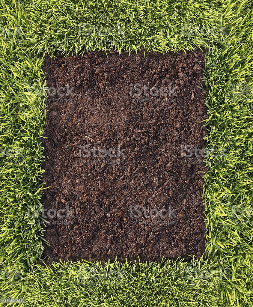 Grass and soil frame stock photo