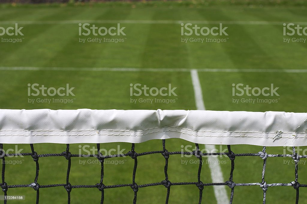 Grass court tennis attack from the net position stock photo