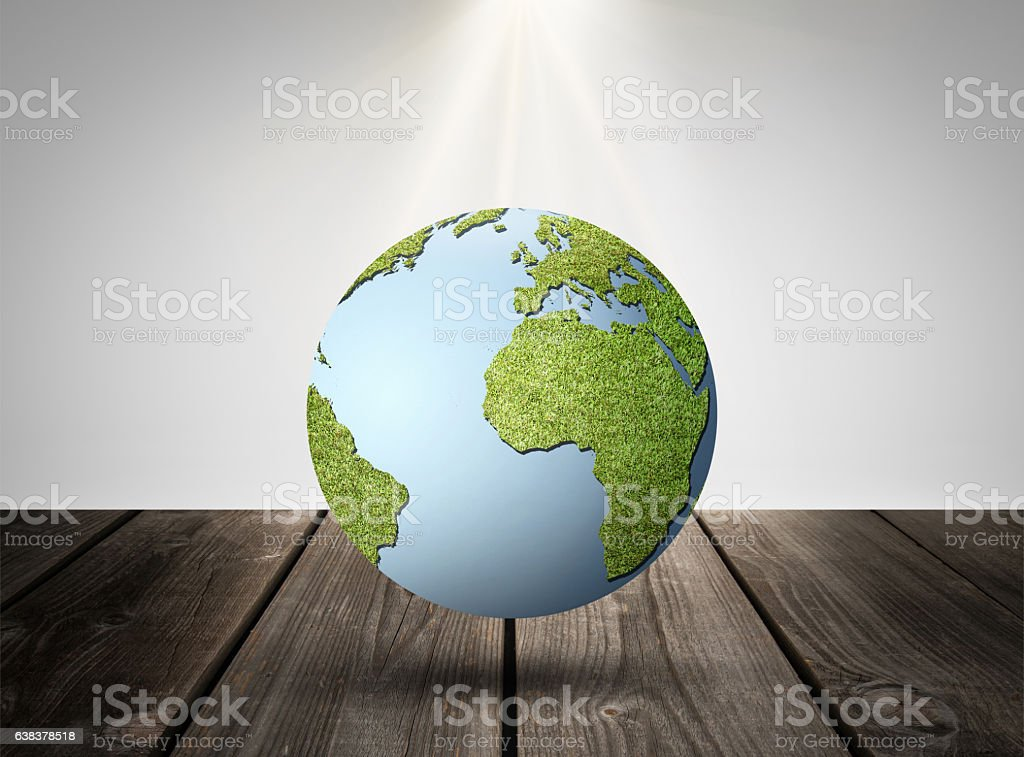 Grass Earth on Table in Room stock photo