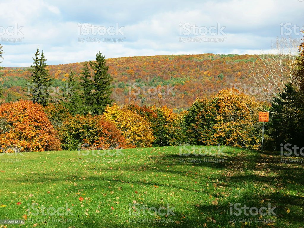 Grass Field and Hills of Colorful Fall Foliage Trees, NY stock photo
