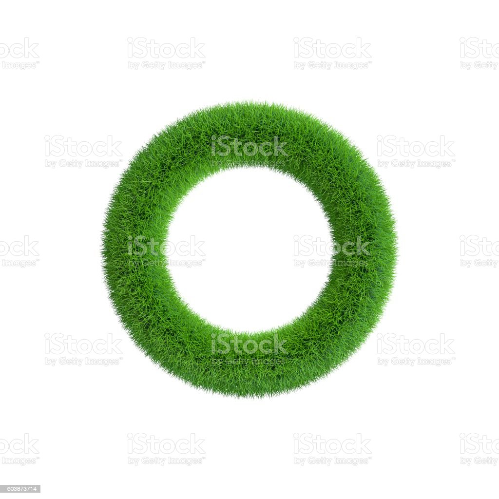 Grass frame in form of circle. Isolated on white background. stock photo
