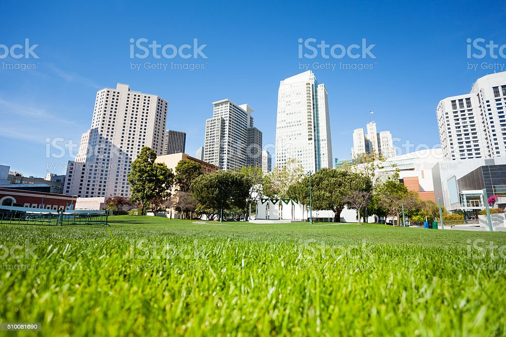 Grass in Yerba Buena Gardens park during day stock photo