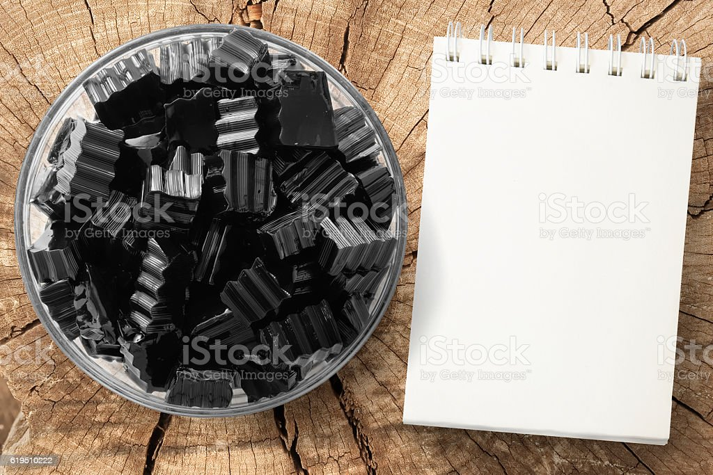 Grass jelly and empty notepad stock photo