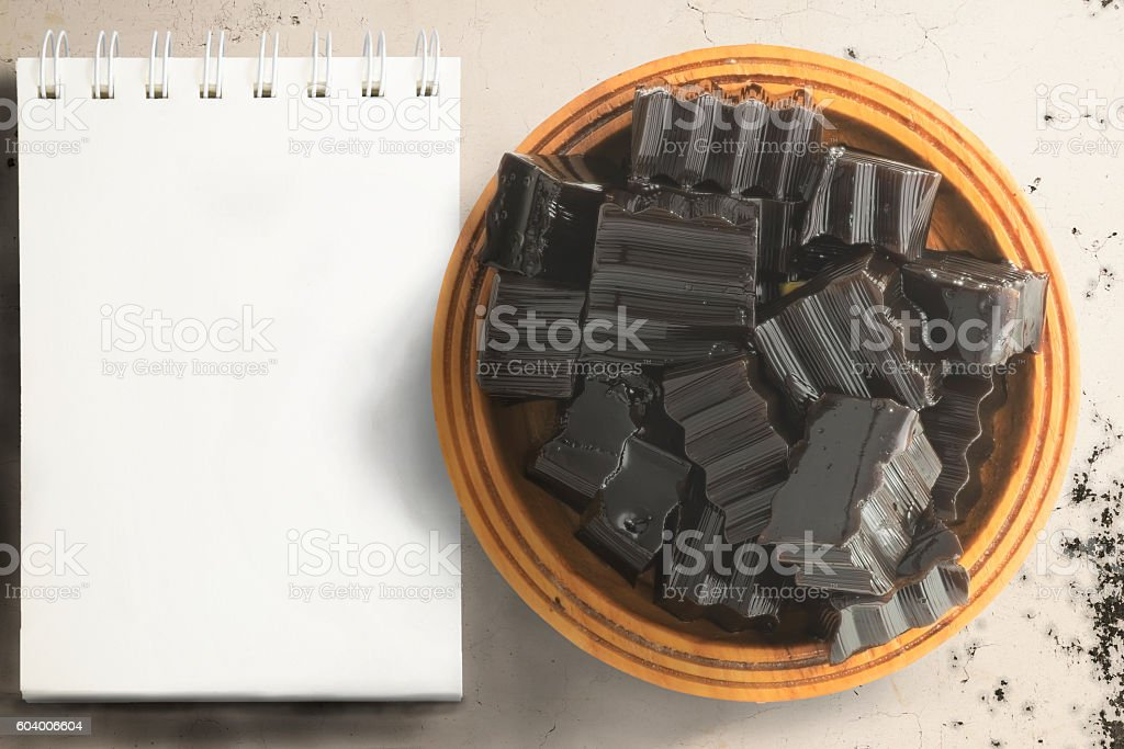 Grass jelly and empty scratchpad stock photo