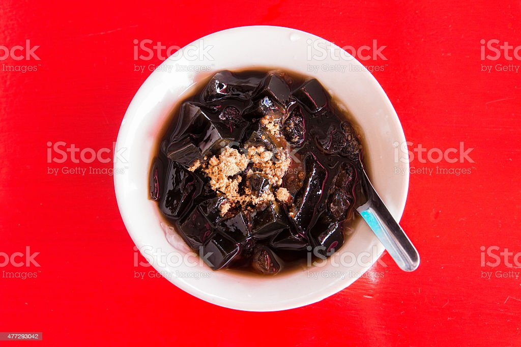 Grass jelly or Chinese vegetable jelly black in colo stock photo