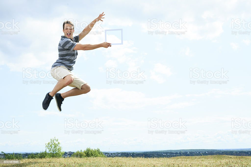 Grass Jump Frame royalty-free stock photo