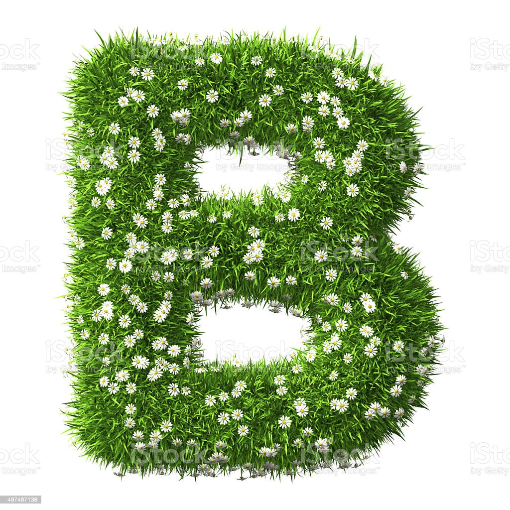 Grass Letter B stock photo