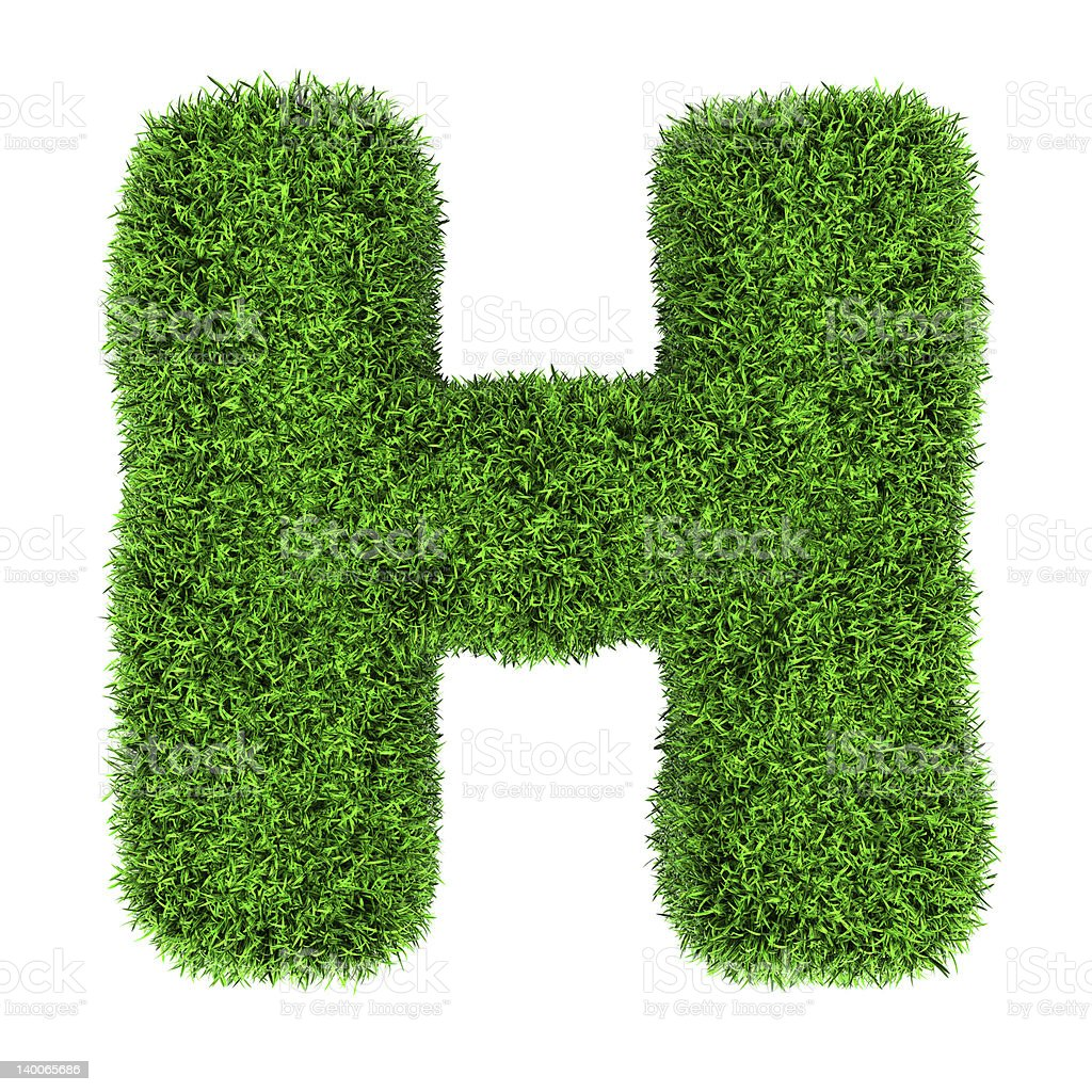 Grass letter H royalty-free stock photo