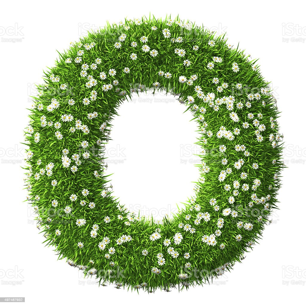Grass Letter O stock photo