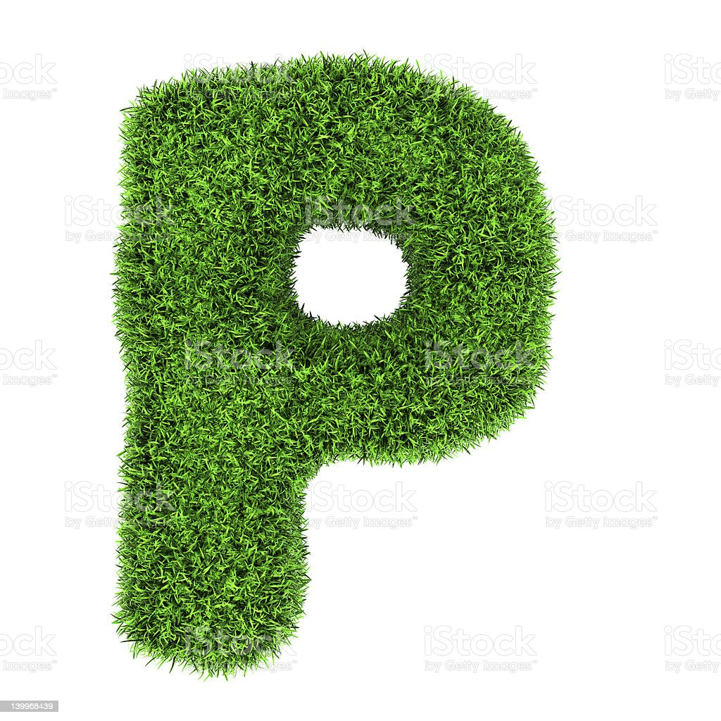 Grass letter P royalty-free stock photo