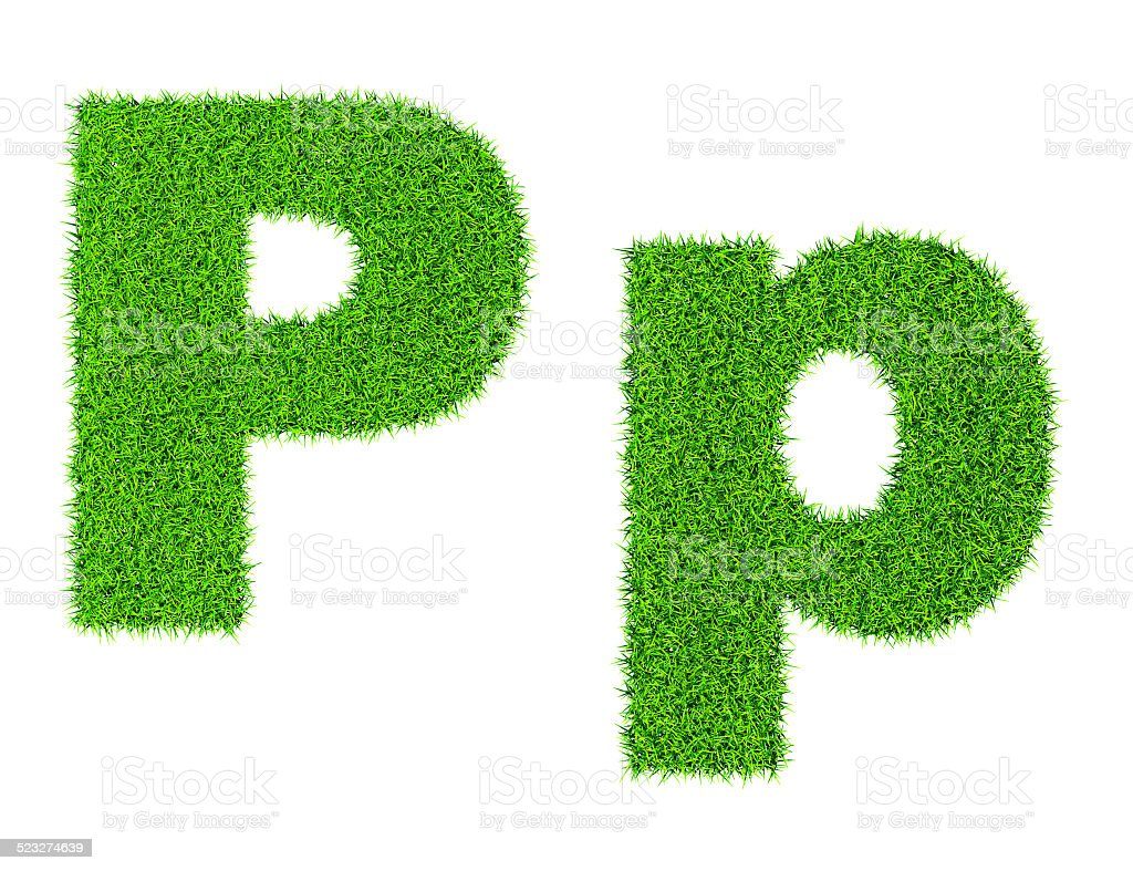 Grass letter P stock photo