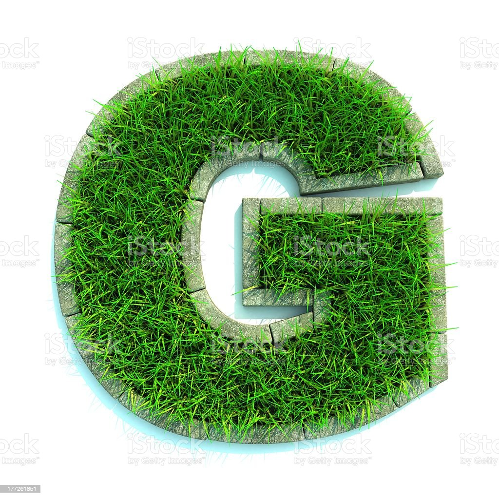 Grass letter stock photo