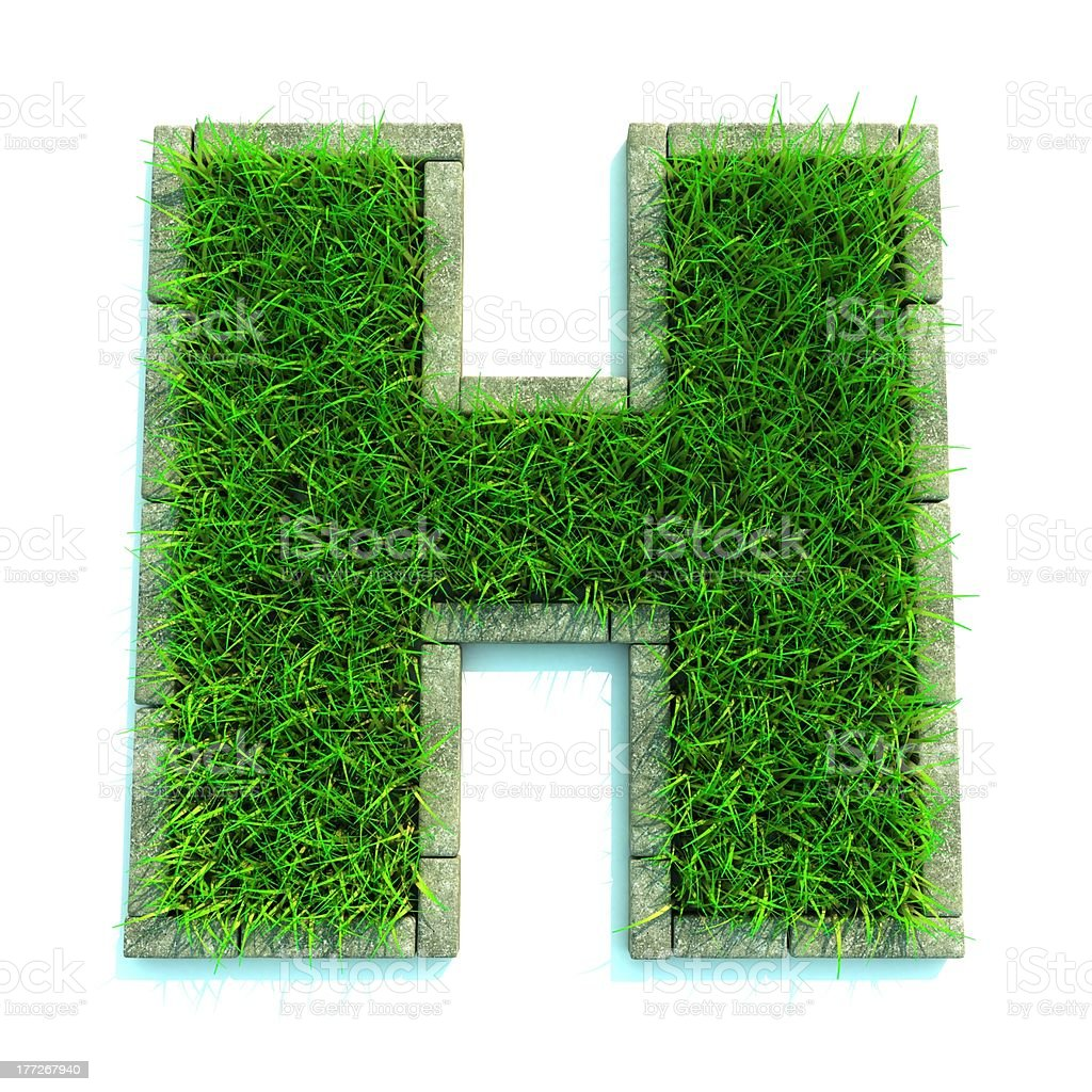 Grass letter royalty-free stock photo