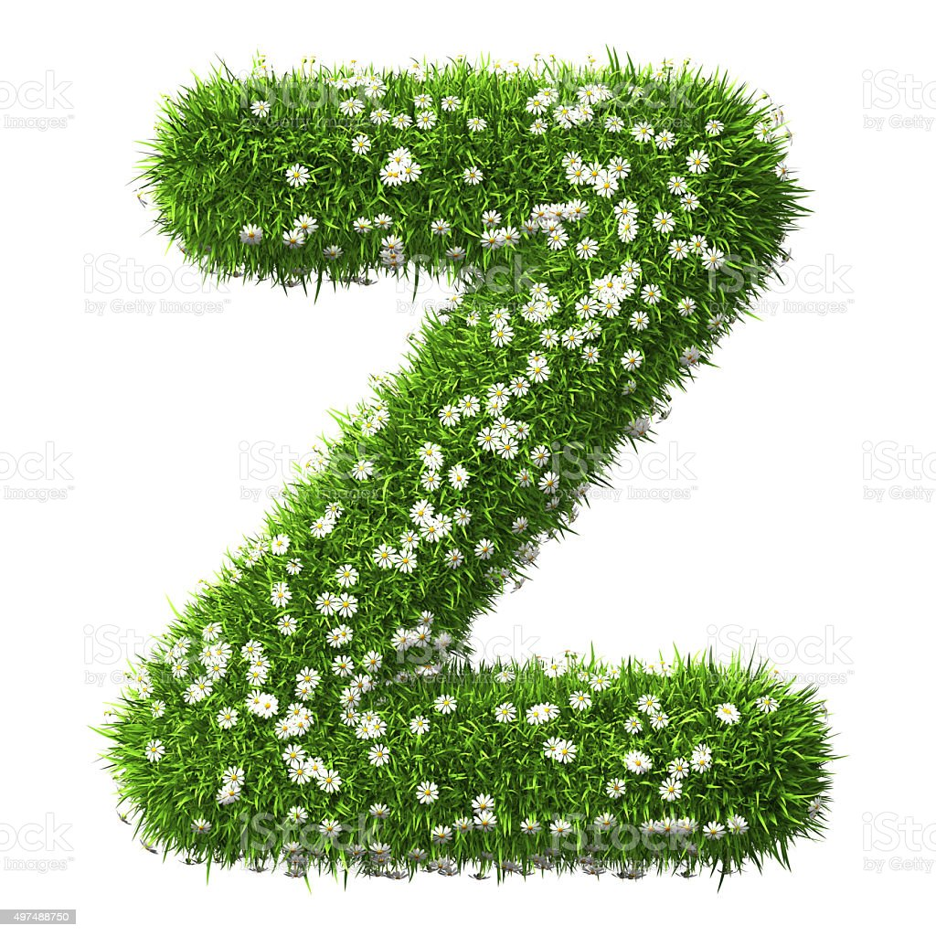 Grass Letter Z stock photo