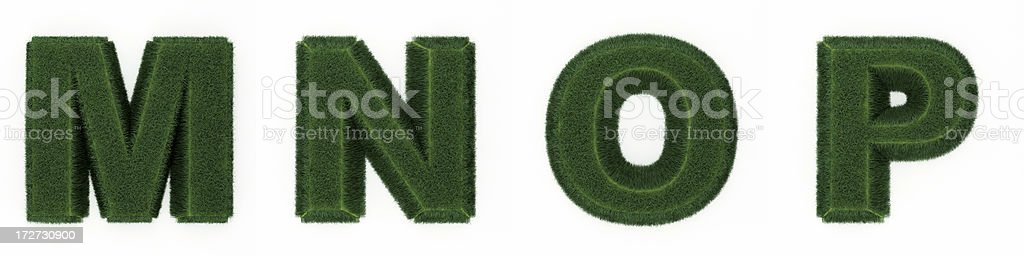 Grass letters MNOP royalty-free stock photo